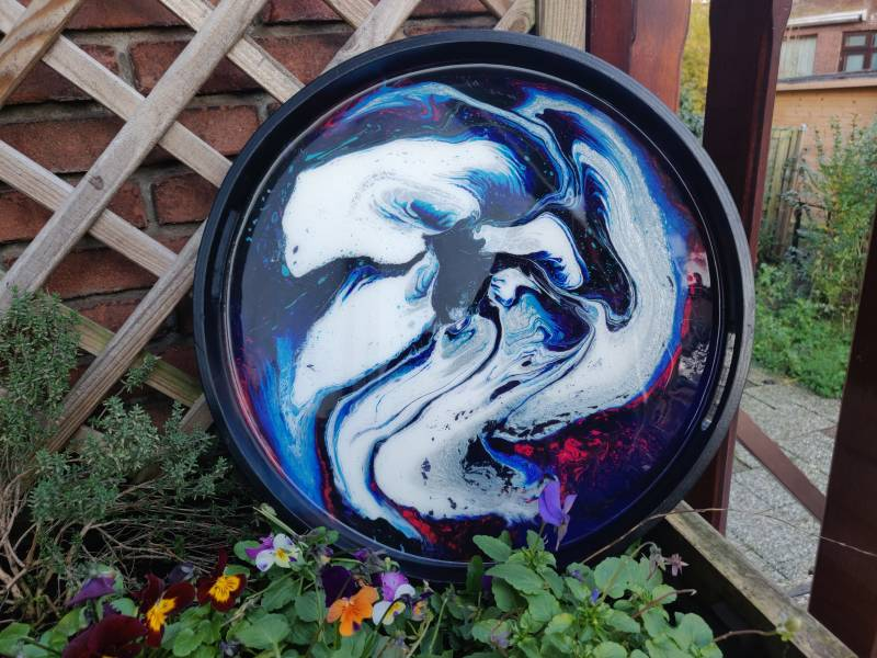 Groot zwart rond Acrylic Pouring dienblad