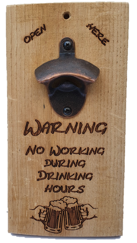 Flesopener - Warning no drinking