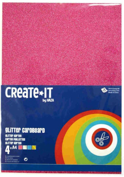 Create-It Glitterkarton A4 4 vel assorti