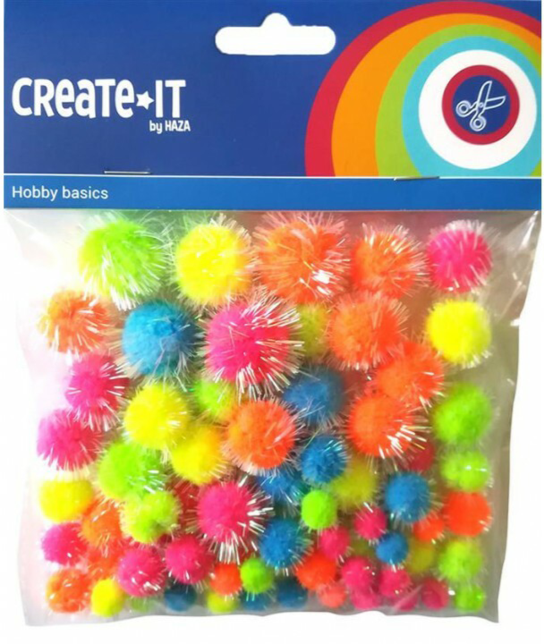 Create-It Pompoms glitter neon mix 75 stuks