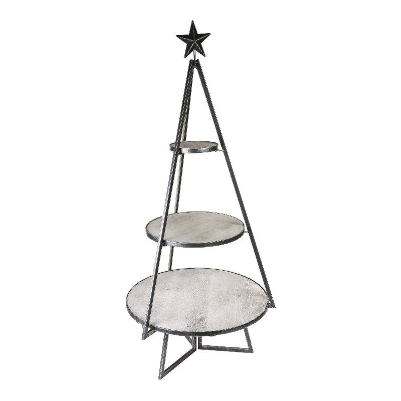 Dario black metal tree etagere round wooden plates