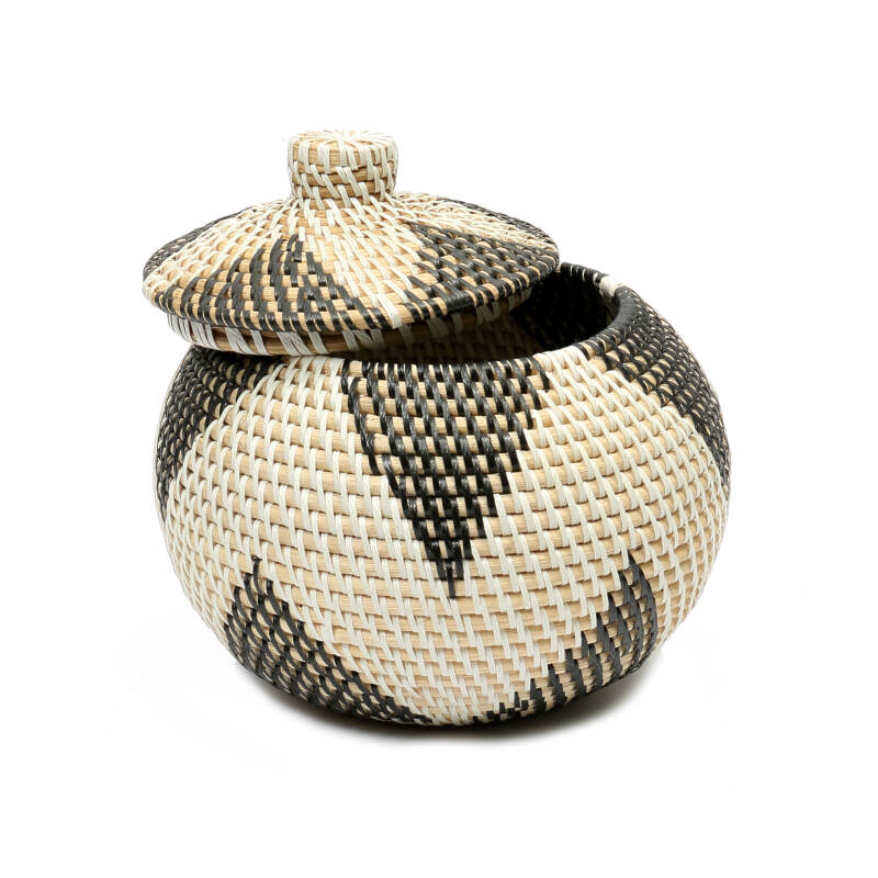 The Coolie Rice Basket - White Black - S