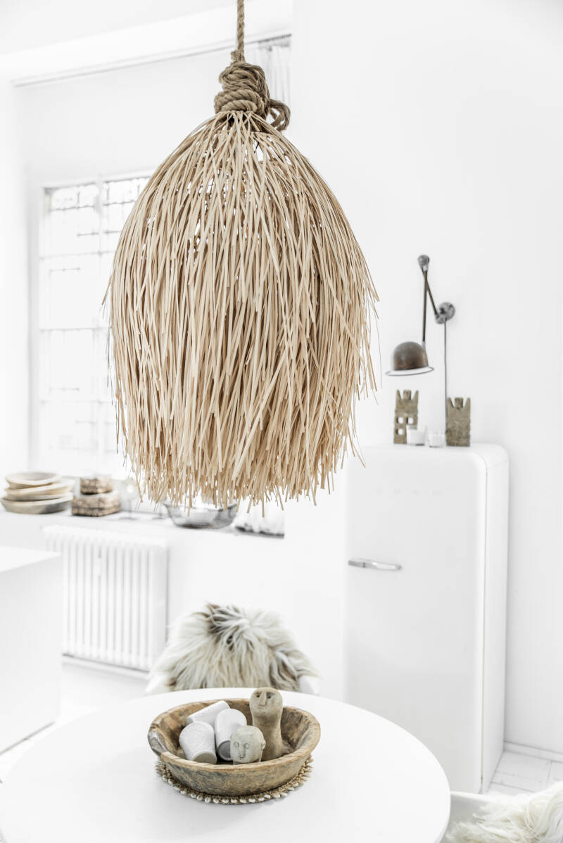 The Rattan Shaggy Hanglamp - Natural - L