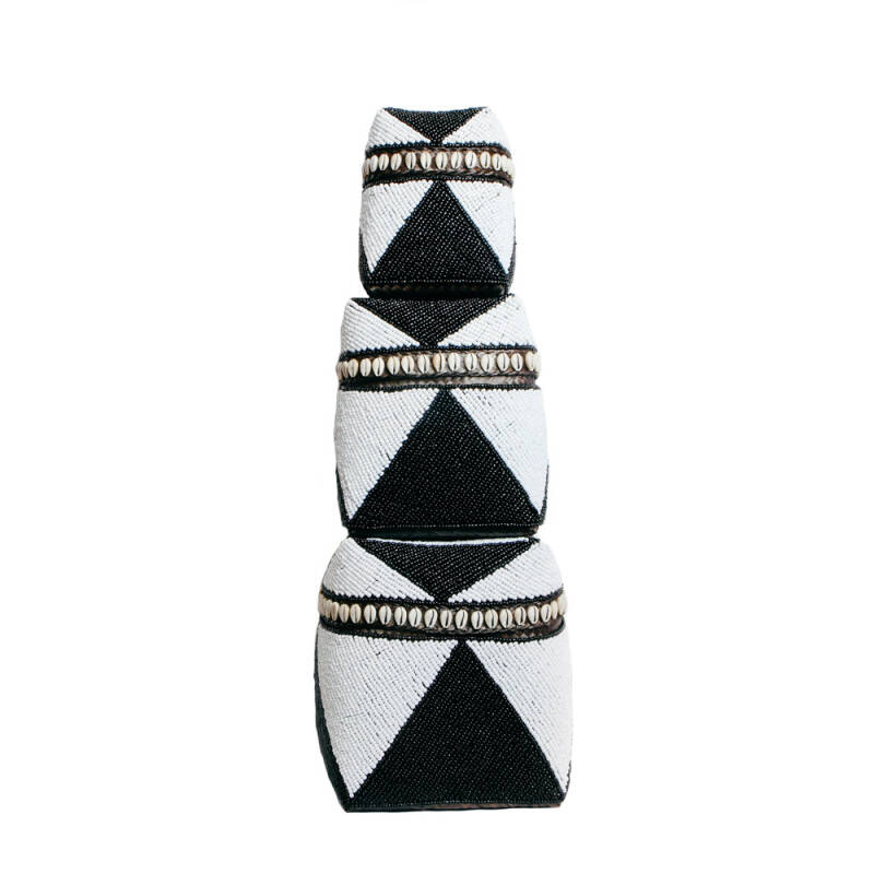 The Beaded Mand Cowrie Diamond High - Zwart wit - S