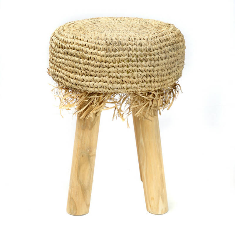 Raffia Fringed Stoel - Natural