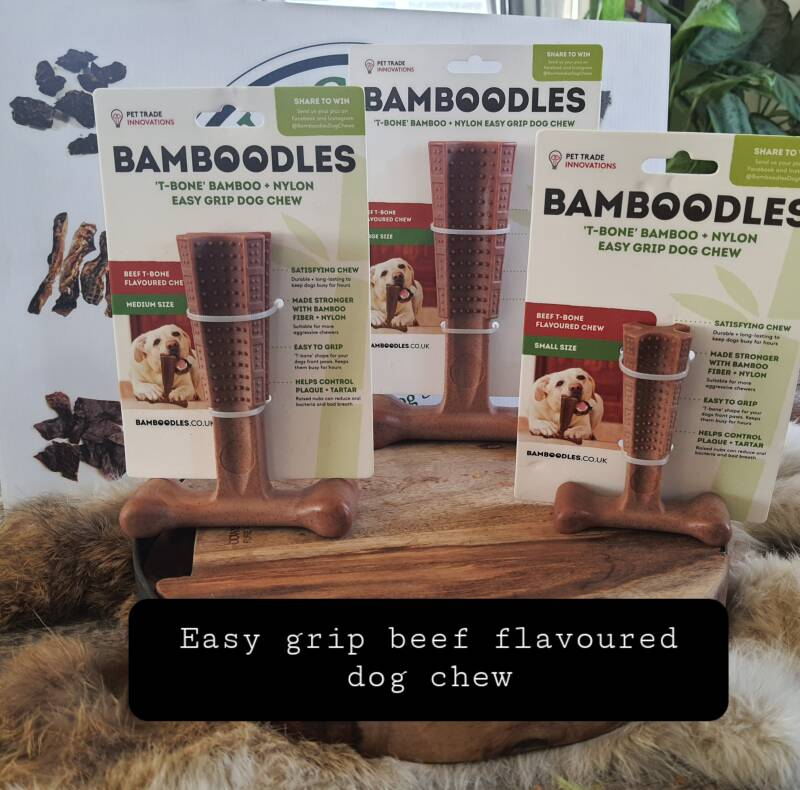 Bamboodles Easy Grip Beef flavoured Hondenkauwbot
