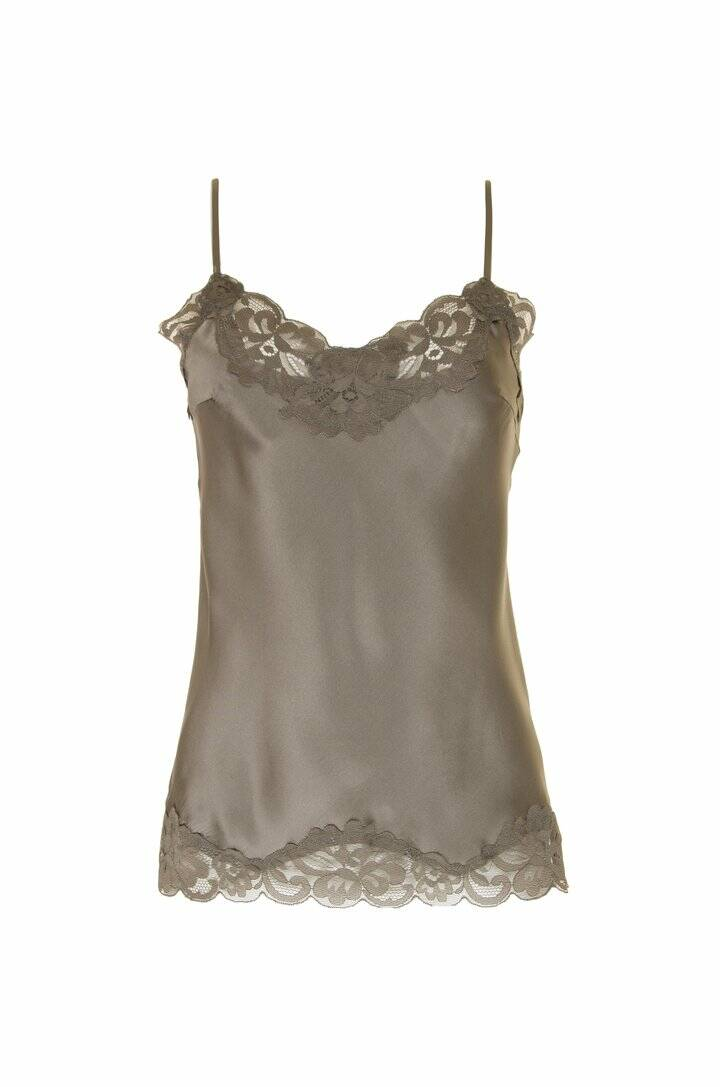 Goldhawk | Floral Lace Silk Cami stone grey | Top