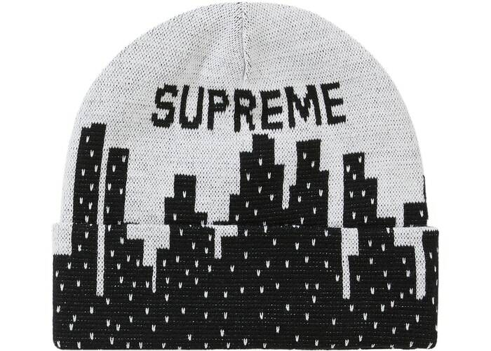 Supreme NY Beanie Black/White