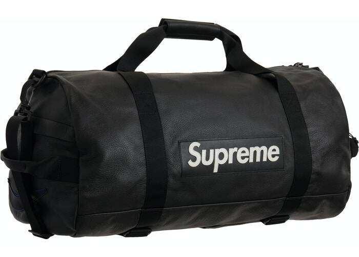 Supreme Nike Leather Duffle Bag Black