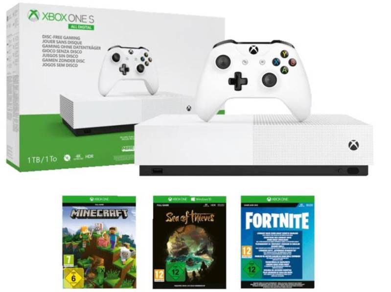 Xbox One S console 1 TB ALL-Digital Edition + Fortnite + Sea of Thieves + Minecraft