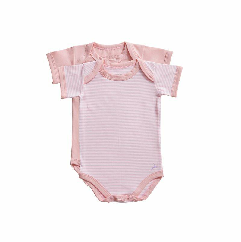 Ten Cate Basic Baby romper Stripe and candy pink 2-pack