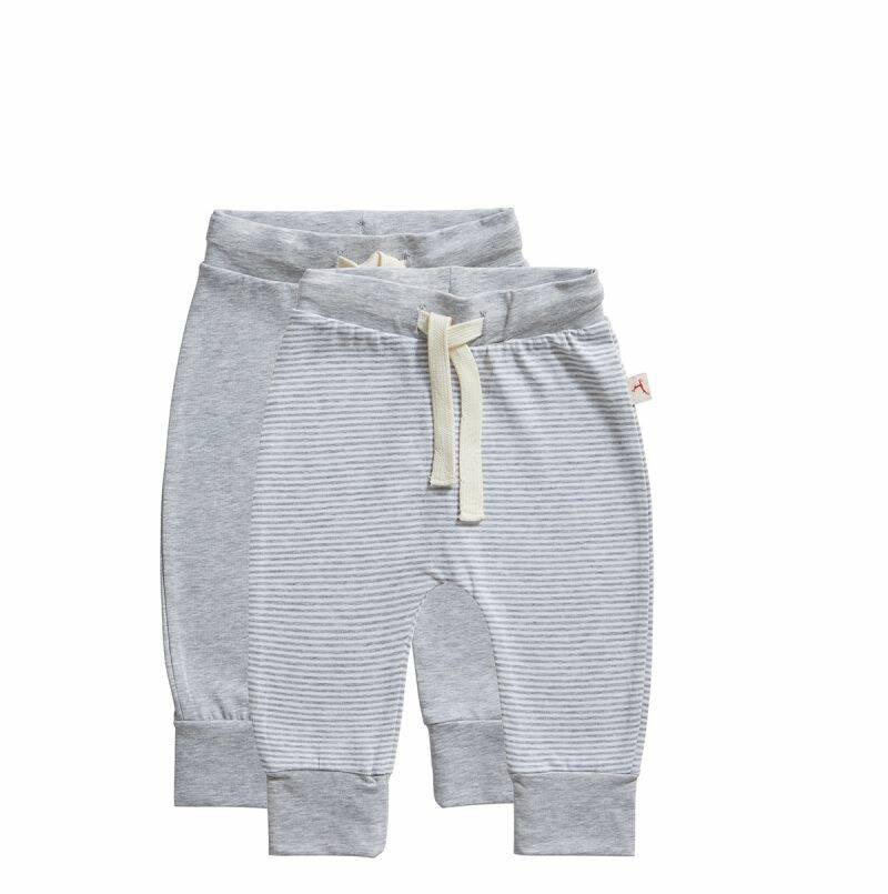 Ten Cate Basic baby broek stripe and light grey 2-pack
