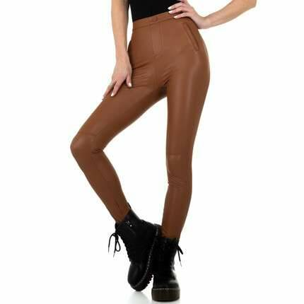 Leather look legging bruin