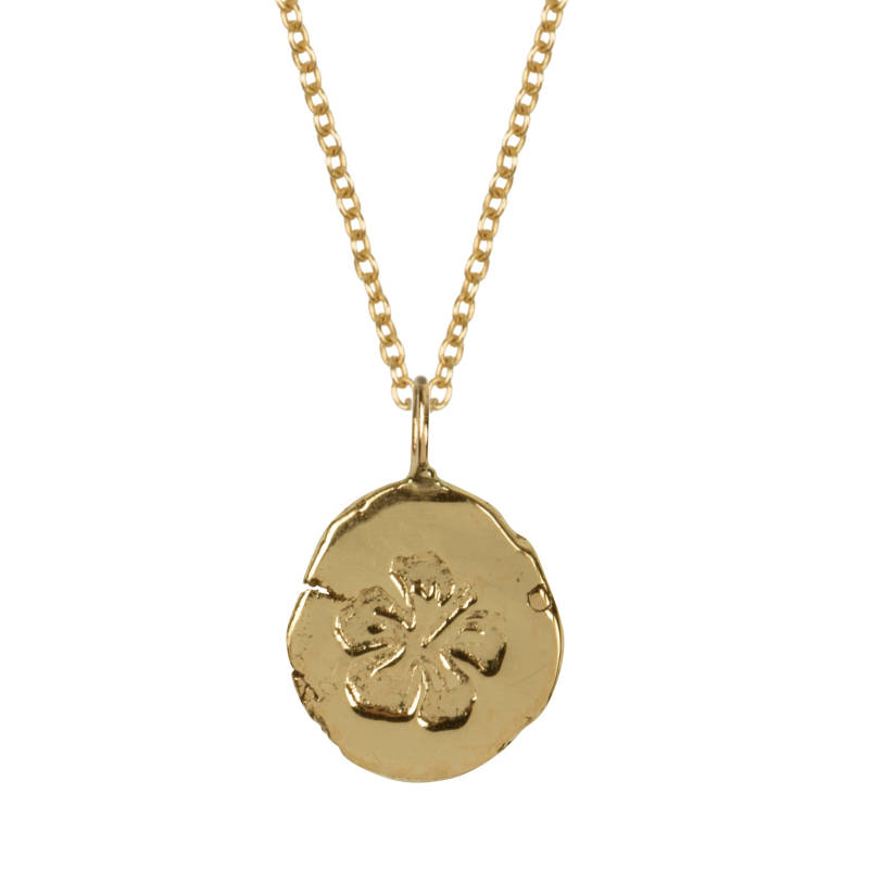 Pebble Leaf Symbol - 14 Karat Gold Necklace