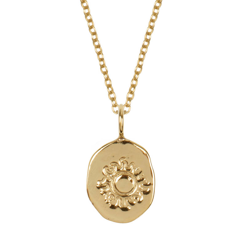Pebble Sun Symbol - 14 Karat Gold Necklace