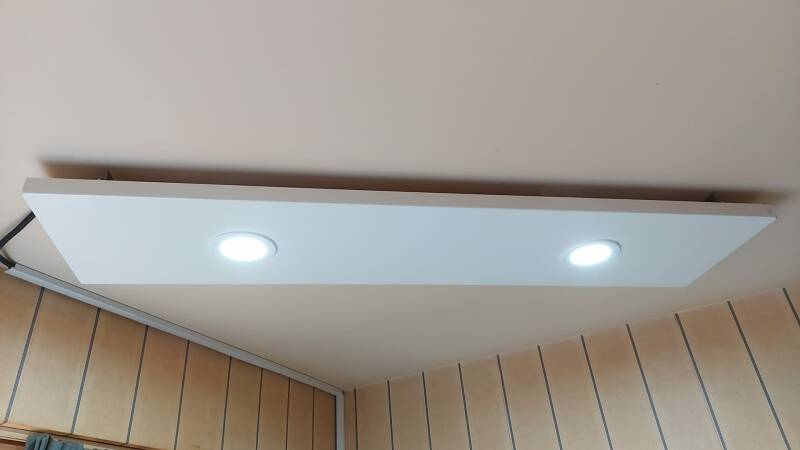 DIHS infrared panel with LED lighting 30 x 130cm, white powdercoated. 360W 230Vac