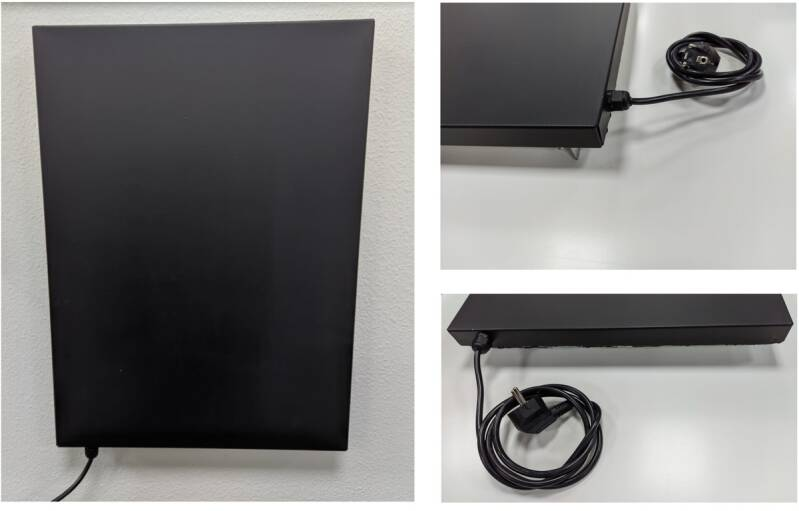 """Wall mounted infrared panel with great heat radiation """"SWIP"""", black 40x55cm"""
