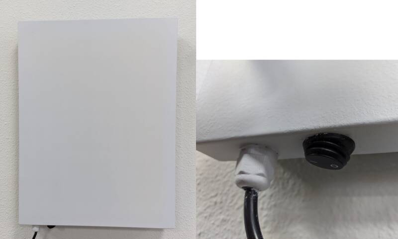 """Wall mounted infrared panel with great heat radiation """"SWIP PLUS"""" with on off switch white creme 40x55cm"""