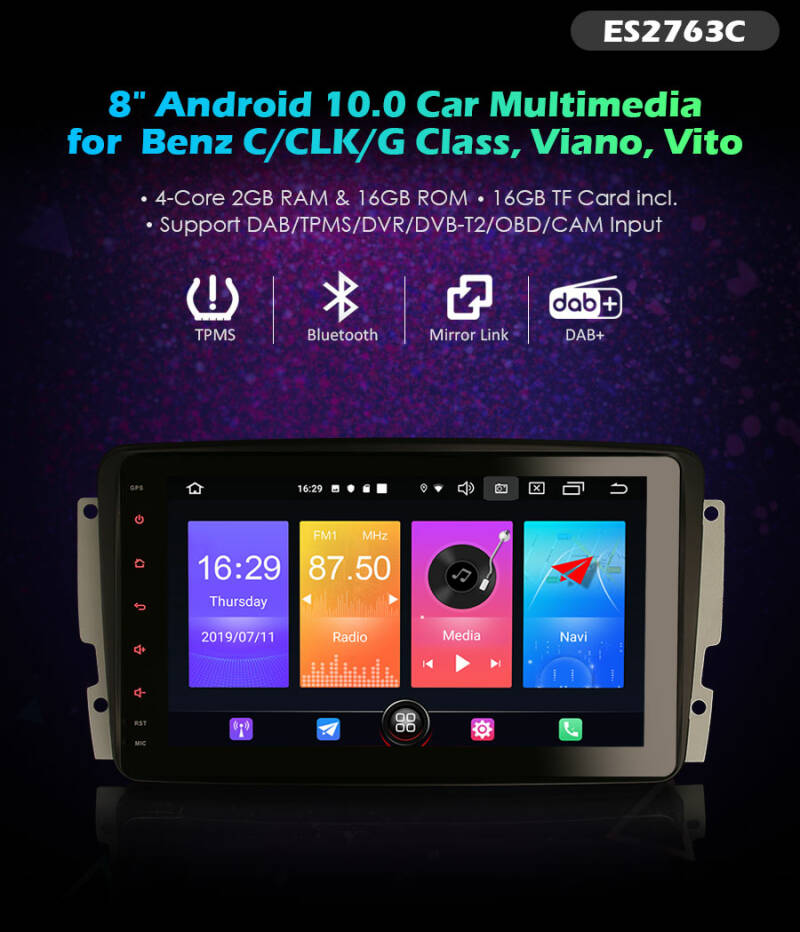 "Erisin ES2763C 8"" Android 10.0 Car Multimedia with GPS WiFi TPMS DVR DAB DSP CarPlay+ (PRO000006)"