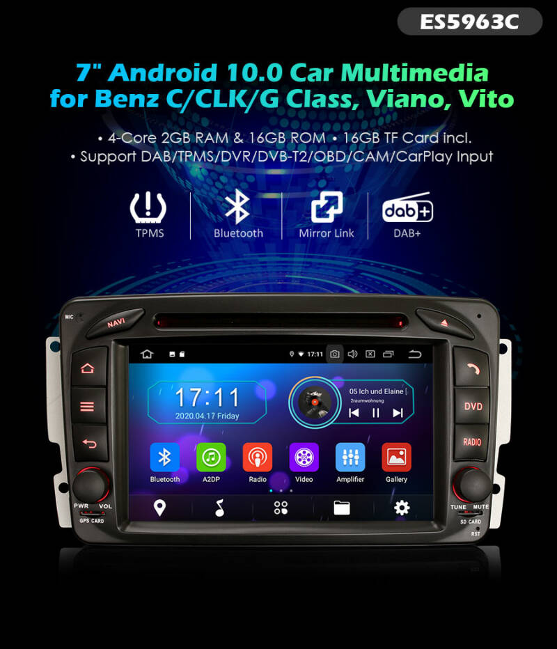 """Erisin ES5963C 7"""" PX30 Android 10.0 Car Stereo for Mercedes Benz G Class DVD GPS DAB+ Sat"""