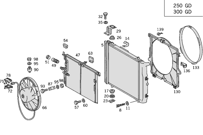 Radiator - Mounting - And Covering W463 [PRO001203]