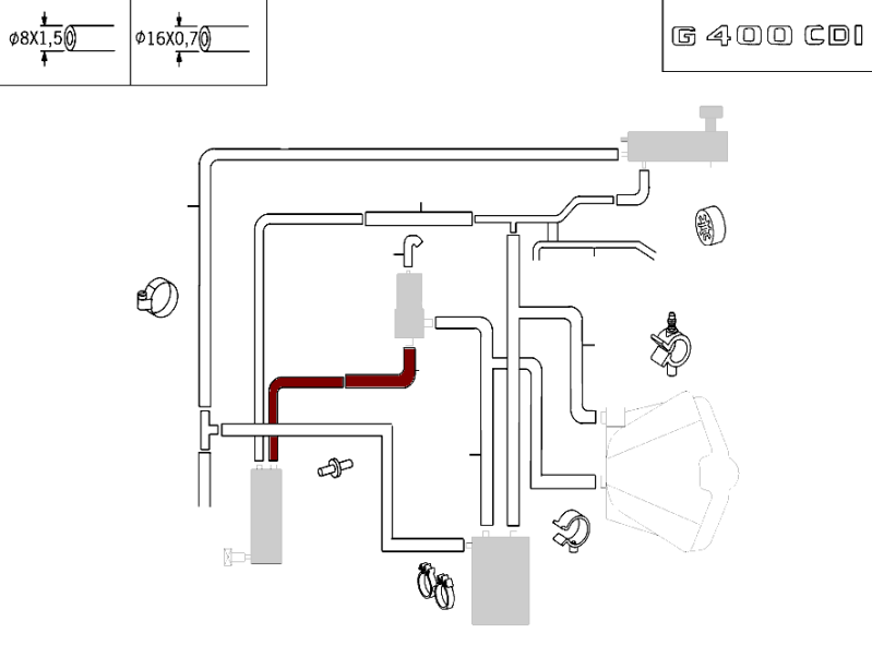 Mercedes-Benz Hose Between Water Pump And Low Temperature Cooler At Top G Class (W463) [PRO000712]