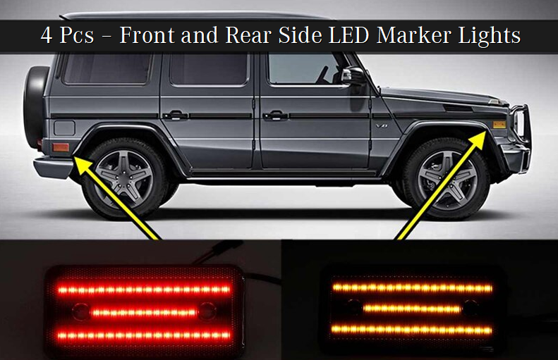 Side Markers Led Black Front And Rear 4 Pcs. (W460 W461 W463) [PRO000144]