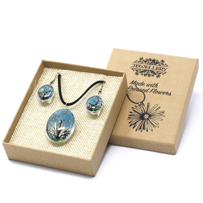 Pressed Flowers - Tree of Life set - Teal.