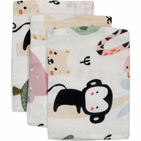 Blush & Blossom hydrofiel washandjes 3-pak animal