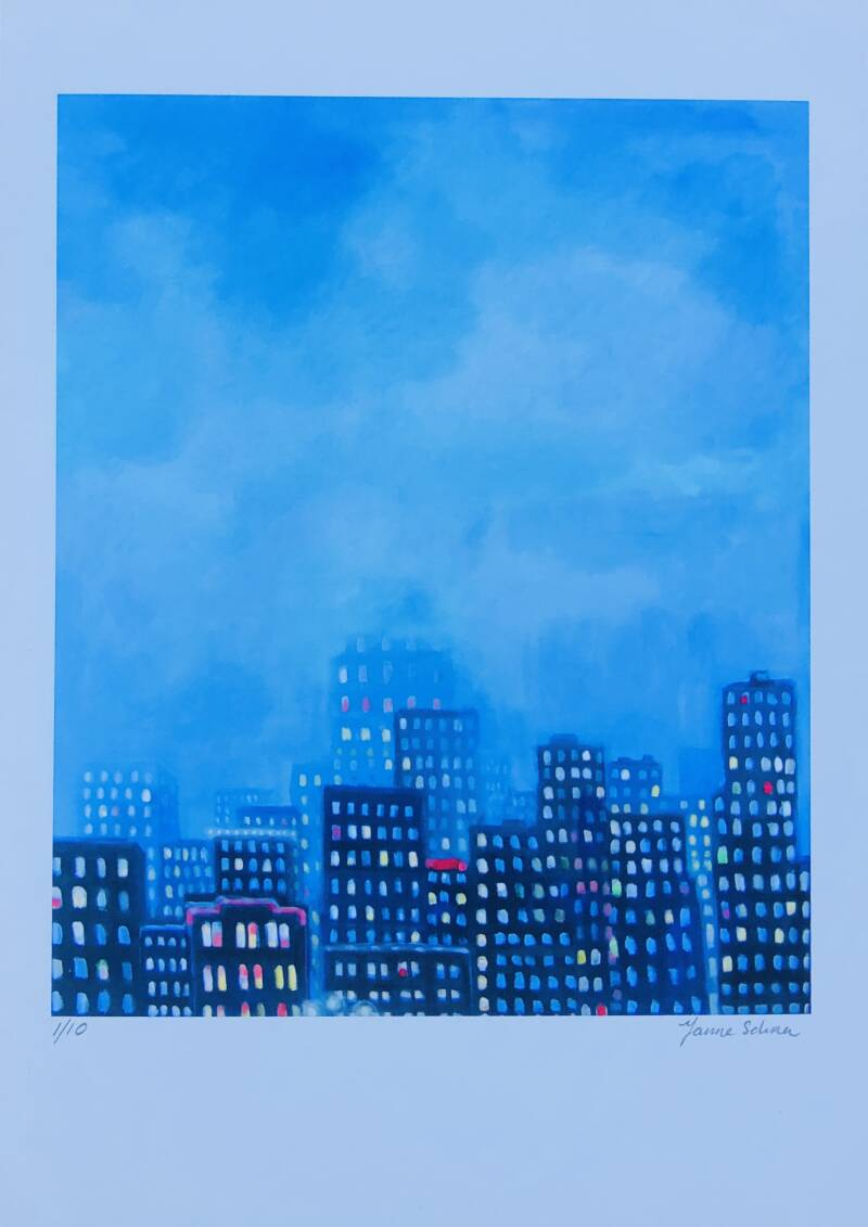 Blue Hour in the Rain Giclée/Art Print