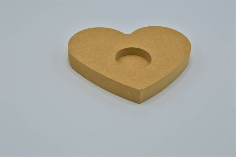 Houten theelichthouder hart / Wooden tea light holder heart