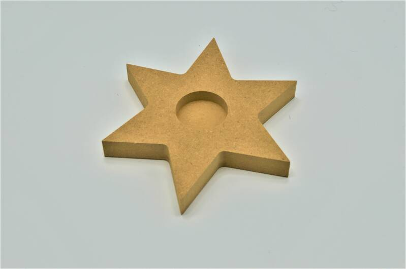 Houten theelichthouder ster / Wooden tea light holder star