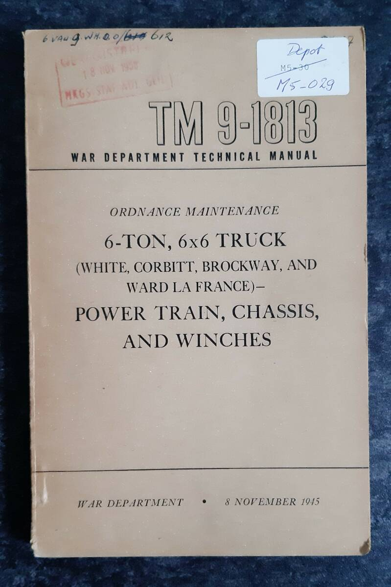 TM9-1813 White, Corbitt, Brockway and Ward La France Power train, Chassis and Winches