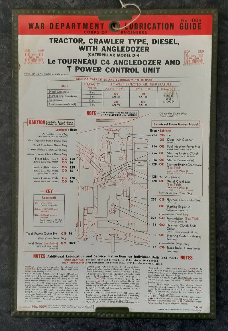 Caterpillar Model D-4 with Angledozer Le Tourneau C4 - Chart No.1009