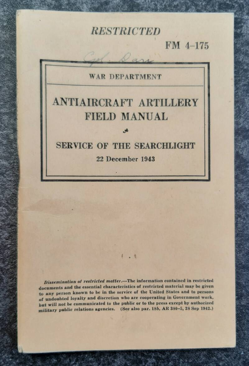 FM4-175 Antiaircraft artillery field manual Service of the searchlight
