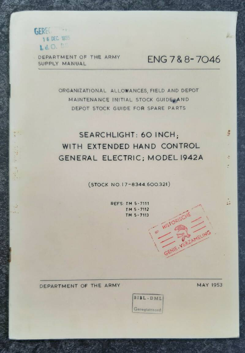 ENG 7 & 8-7046 Searchlight 60 inch with extended hand control Model 1942A