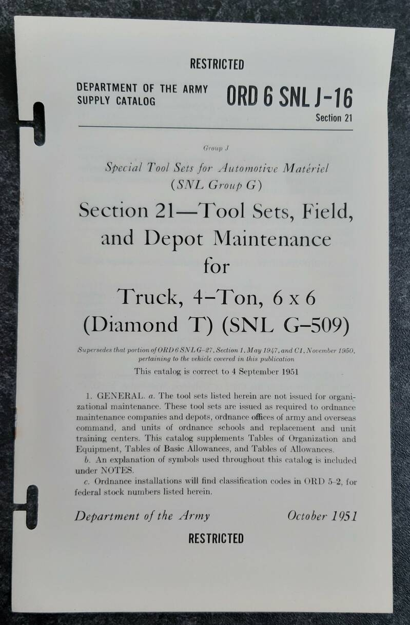 ORD 6 SNL-J16 Tools sets, field and depot maintenance for truck 4-ton 6x6 Diamond T G509