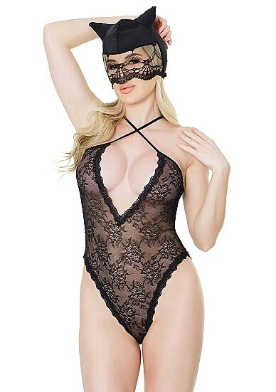 Kitty Lace Crotchless Teddy met Cat Mask - Zwart