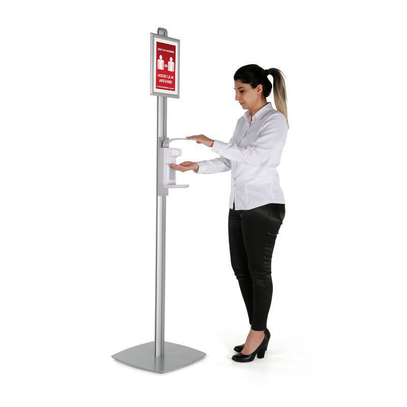 Casi freestanding display met ontsmettings dispenser inclusief poster