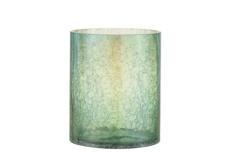 Windlicht crackle glas groen