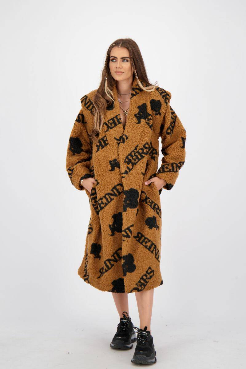 Teddy coat long ALL OVER PRINT almond