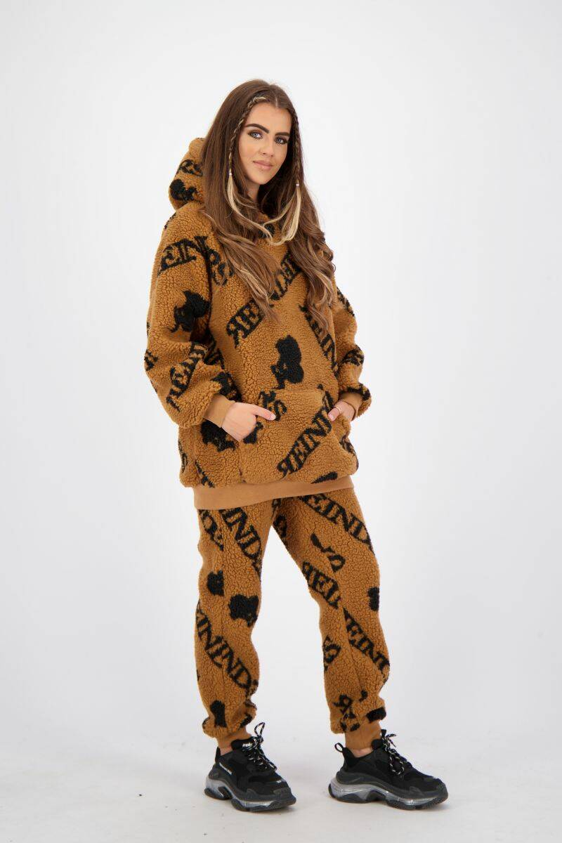 Teddy Hoodie All Over Print Almond