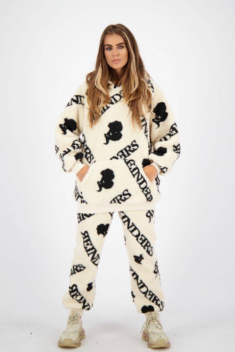 Teddy Hoodie All Over Print Creme