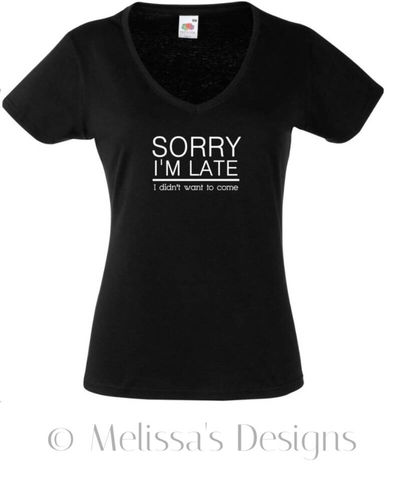 Sorry i'm late T shirt zwart
