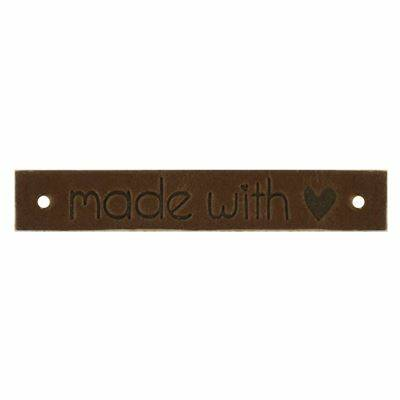 """Leren Label """"made with love"""" 1 stk Bruin"""