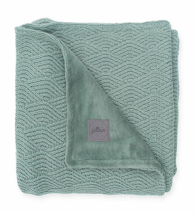 Babydeken Fleece 75x100 - River Knit - Ash Green - Jollein