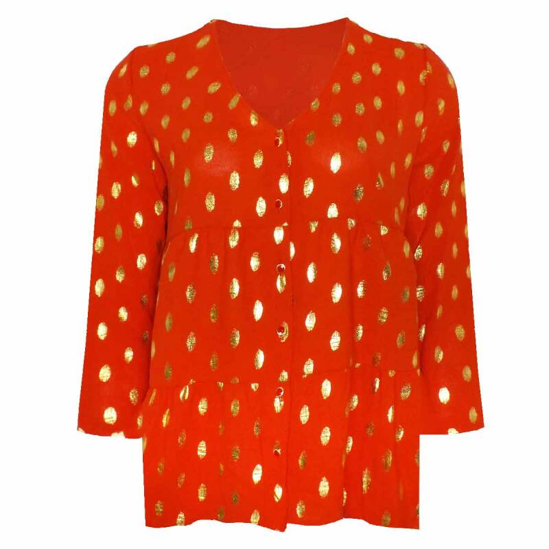 GOLDEN DOTS BLOUSE RED