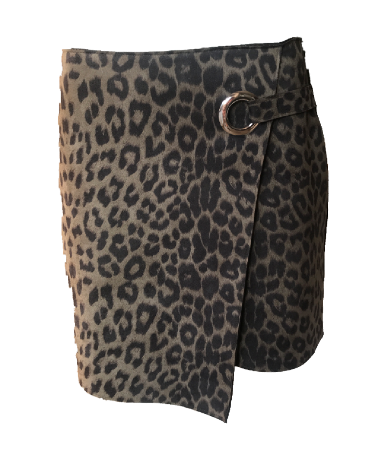LEOPARD SKIRT ARMY GREEN