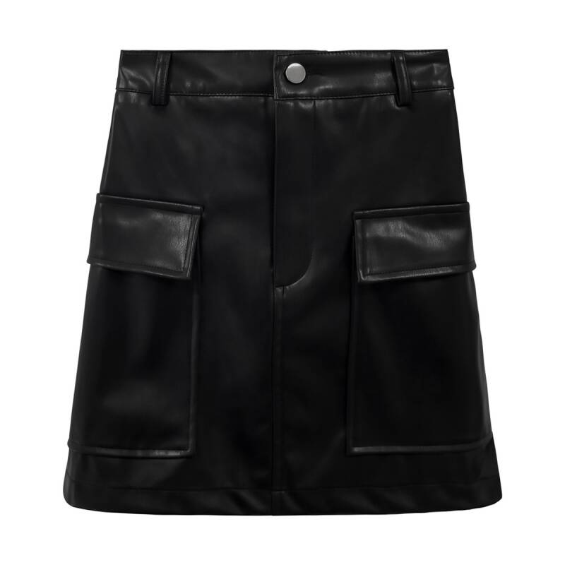 JINA LEATHER SKIRT BLACK