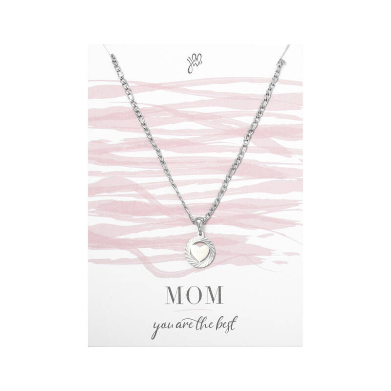 POSTCARD ''MOM YOU ARE THE BEST'' NECKLACE SILVER
